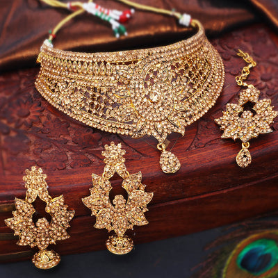 Sukkhi Glorious Gold Plated LCT Stone Choker Necklace Set For Women
