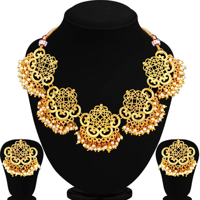 Sukkhi Gold Plated Filigree Pearl Necklace Set For Women
