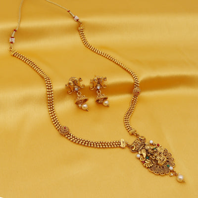 Sukkhi Gleaming Gold Plated Goddess Long Haram Necklace Set For Women