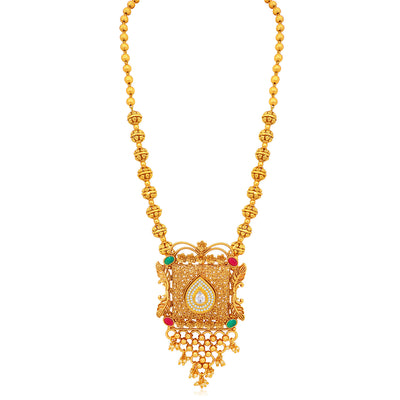 Sukkhi Glitzy Gold Plated Kundan Long Haram Necklace Set For Women