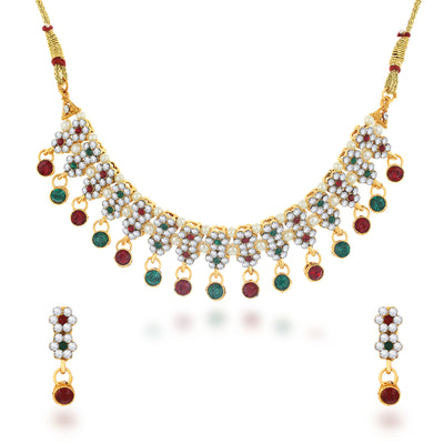 Sukkhi Ravishing Gold Plated Colourful Choker Necklace Set for Women