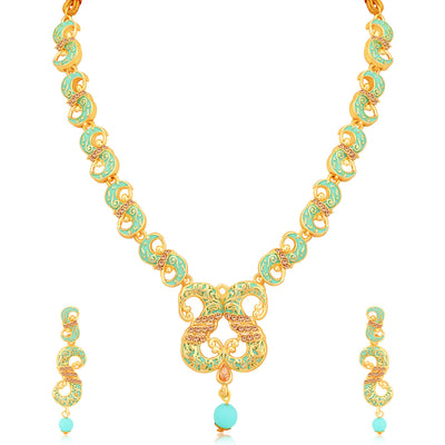 Sukkhi Modish Mint Collection Gold Plated Necklace Set For Women