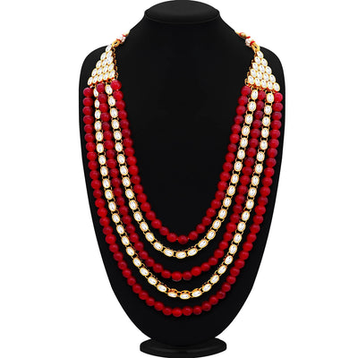 Sukkhi Sparkling Gold Plated Kundan Five String Necklace Set For Women