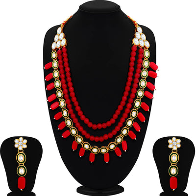 Sukkhi Glistening Gold Plated Three String Meenakari Kundan Necklace Set For Women