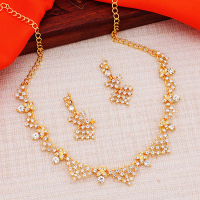 Sukkhi Floral LCT Gold Plated Peacock Necklace Set for Women