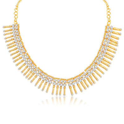 Sukkhi Glitzy Gold Plated Choker Necklace Set for Women