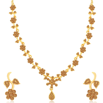 Sukkhi Gleaming LCT Gold Plated Floral Necklace Set Combo for Women