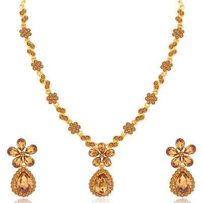 Sukkhi Delicate LCT Gold Plated Floral Necklace Set Combo for Women