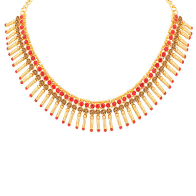 Sukkhi Splendid LCT and Red Stone Gold Plated Choker Necklace Set for Women