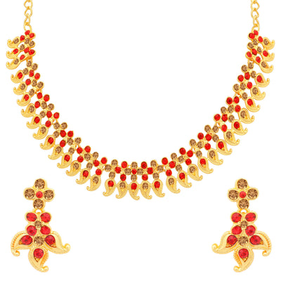 Sukkhi Spectacular LCT and Red Stone Gold Plated Paisley Necklace Set Combo for Women