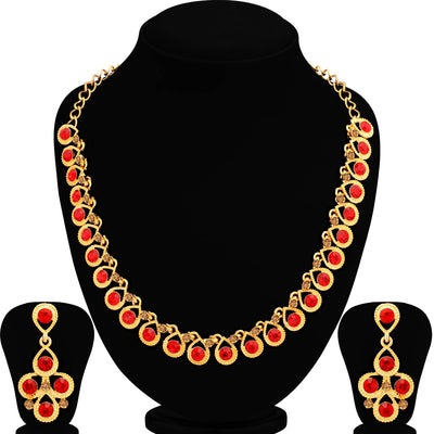 Sukkhi Luxurious LCT and Red Stone Gold Plated Necklace Set for Women