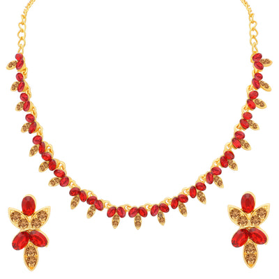 Sukkhi Pretty LCT and Red Stone Gold Plated Necklace Set for Women