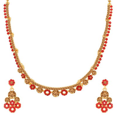 Sukkhi Dazzling LCT and Red Stone Gold Plated Necklace Set for Women