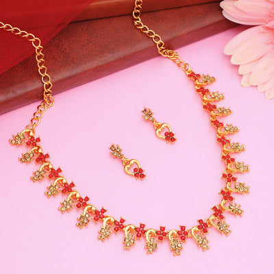 Sukkhi Incredible LCT and Red Stone Gold Plated Leafy Necklace Set Combo for Women