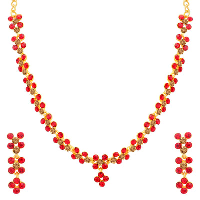 Sukkhi Excellent LCT and Red Stone Gold Plated Necklace Set Combo for Women