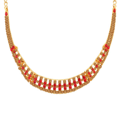 Sukkhi Stylish LCT and Red Stone Gold Plated Necklace Set for Women