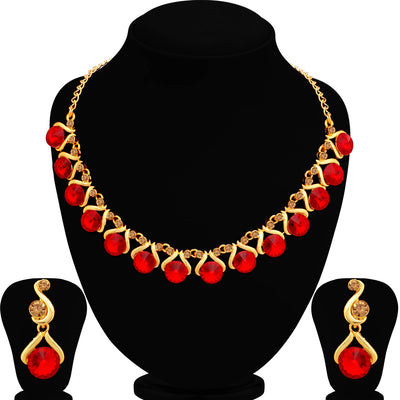 Sukkhi Astonish LCT and Red Stone Gold Plated Choker Necklace Set for Women