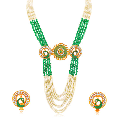 Sukkhi Exotic Gold Plated Peacock Long Haram Necklace Set for Women