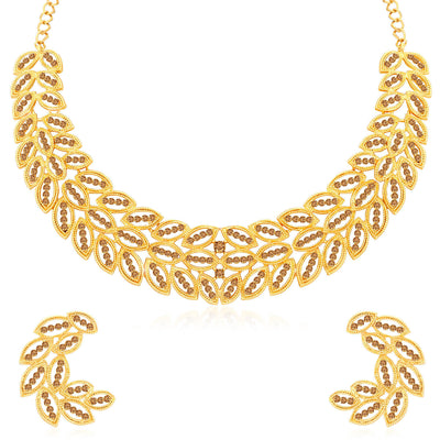 Sukkhi Leafy LCT Gold Plated Choker Necklace Set for Women