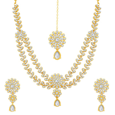 Sukkhi Excellent Gold Plated Floral Necklace Set For Women
