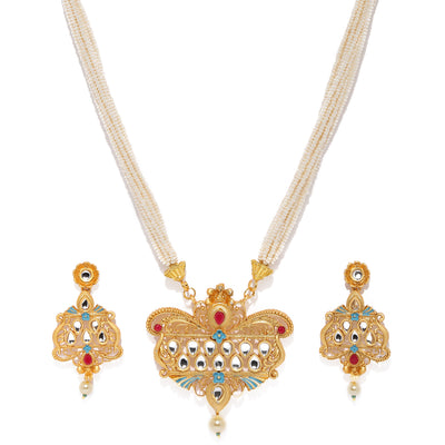 Sukkhi Graceful Mint Collection Gold Plated Neckalce Set for Women