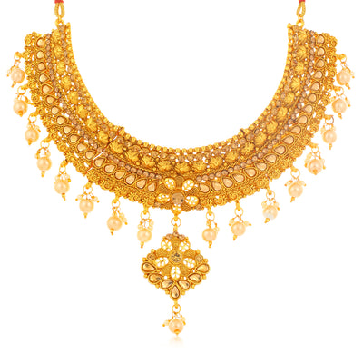 Sukkhi Youthful Gold Plated LCT Stone Choker Necklace Set for Women