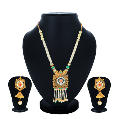 Sukkhi Charming Gold Plated Pearl Collar Necklace Set for Women