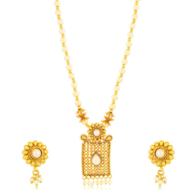 Sukkhi Artistically Gold Plated Pearl Collar Necklace Set for Women
