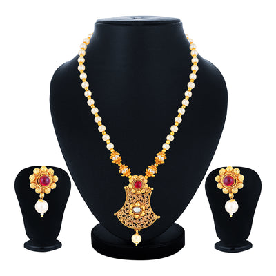 Sukkhi Luxurious Gold Plated Pearl Collar Necklace Set for Women