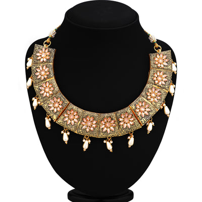 Sukkhi Glamorous Mint Collection Gold Plated Necklace Set For Women