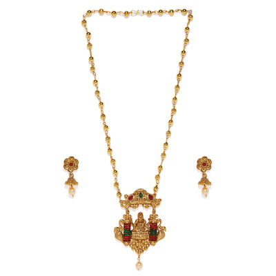 Sukkhi Fascinating Gold Plated Temple Neckalce Set for Women