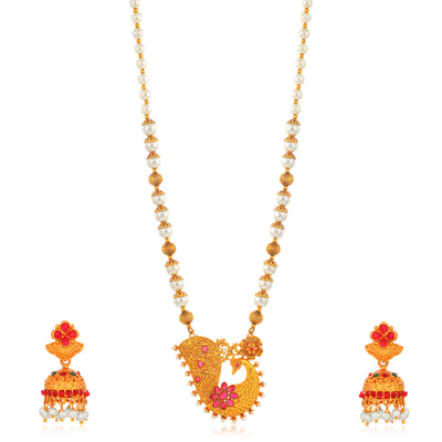 Sukkhi Fashionable Collar Gold Plated Necklace Set Set for Women