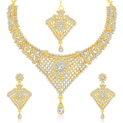 Sukkhi Delightful Gold Plated Floral Choker Necklace Set For Women