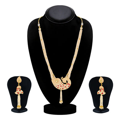 Sukkhi Shimmering Collar Gold Plated Necklace Set Set for Women