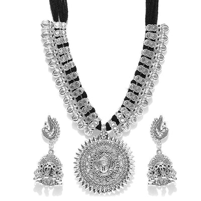 Sukkhi Antique German Silver Oxidised Plated Tribal Cotton Thread Necklace Earring Set For Women & Girls