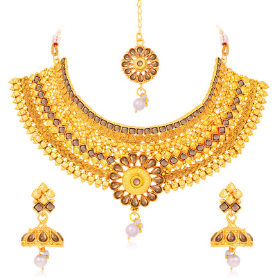Sukkhi Floral LCT Gold Plated Choker Necklace Set For Women