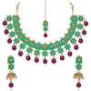Sukkhi Pleasing Floral Gold Plated Mint Collection Necklace Set for Women