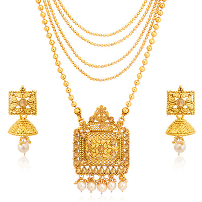 Sukkhi Luxurious LCT Gold Plated Long Haram Necklace Set For Women