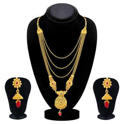 Sukkhi Classic Gold Plated Long Haram Necklace Set For Women