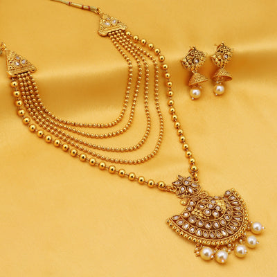 Sukkhi Leafy LCT Gold Plated Long Haram Necklace Set For Women