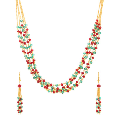Sukkhi Astonish Gold Plated Multicolour Necklace Set For Women