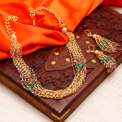 Sukkhi Appealing Gold Plated Multicolour Necklace Set For Women