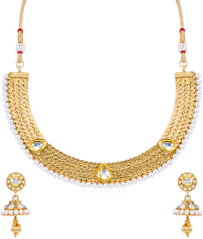 Sukkhi Traditional Choker Gold Plated Necklace Set for Women