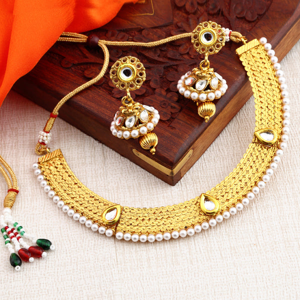 Sukkhi Traditional Gold Plated Necklace Set: 0021 Sukkhi Traditional Choker Gold Plated Necklace Set