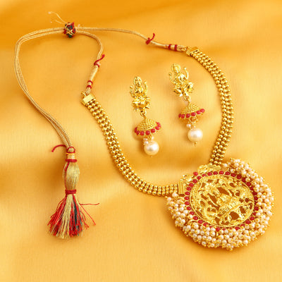 Sukkhi Fine Laxmi Design Gold Plated Necklace Set for Women
