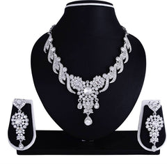 Sukkhi Creative Rhodium Plated Collar AD Necklace Set For Women