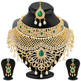 0019 Sukkhi Exotic Gold Plated AD Necklace Set For Women
