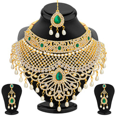 0019 Sukkhi Incredible Gold Plated AD Necklace Set For Women