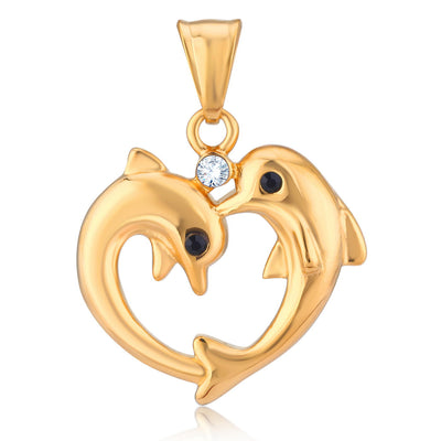 Sukkhi Modish Gold Plated Dolphin Shaped Fancy Pendant for Women