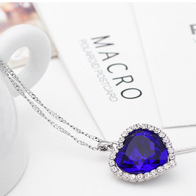 Sukkhi Modern Blue Titanic Valentine Heart Crystal Rhodium Plated Pendant for Women